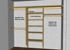 Great diagrams with measurements and info on designing a closet