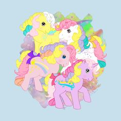 my little pony rainbow curl ponies Art Print by DreamvalleyMLP - X-Small Vintage My Little Pony, Original My Little Pony, Unicorn Drawing, Bear Drawing, Vintage Cartoon, Cute Cartoon, My Little Pony Stickers, My Little Pony Collection, My Little Pony Wallpaper