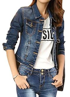 New Trending Outerwear: OULIU Womens Casual Lapel Long Sleeve Denim Jacket Short Outwear Blue L. OULIU Womens Casual Lapel Long Sleeve Denim Jacket Short Outwear Blue L   Special Offer: $7.41      188 Reviews Size:Please check your measurements to make sure the item fits before ordering.Choose larger sizes if your size are same as the flat measurement Size chart. Material:CottonSize...