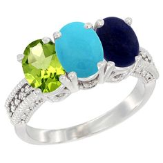 14K White Gold Natural Peridot, Turquoise and Lapis Ring 3-Stone Oval 7x5 mm, sizes 5 - 10 -- To view further, visit now : Jewelry Ring Bands