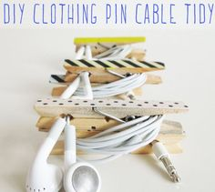 Clothes pegs cable organization