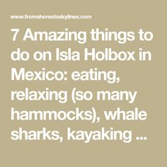 ✔️7 Amazing things to do on Isla Holbox in Mexico: eating, relaxing (so many hammocks), whale sharks, kayaking and eating!