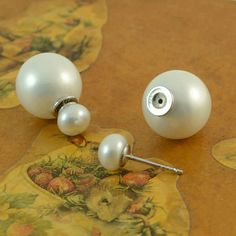 double-pearl-earrings-off Double Pearl Earrings, Silver Earrings, Stud Earrings, Handmade Silver, Belly Button Rings, Jewelry Design, Pearls, Ear Studs, Dangle Belly Rings