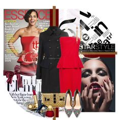 Holiday Party Look - Try Alicias Keys's red peplum dress for less by gench on Polyvore featuring MANGO, Topshop, Zara, Juicy Couture, River Island, Christian Dior, By Terry, essence magazine, what to wear for new year's eve and dior makeup