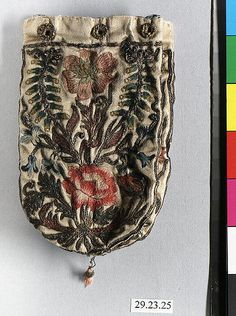 Purse Date: late 17th century Culture: British or French Medium: Silk and metal thread Dimensions: L. 4 1/4 x W. 2 1/2 inches (10.8 x 6.4 cm)