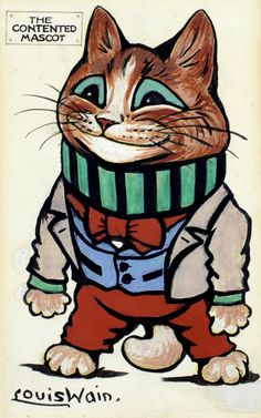 """""""The Contented Mascot"""" by Louis Wain - Pen ink, watercolour and bodycolour - Design for a postcard for Raphael Tuck & Sons, Series I, """"Louis Wain Mascots"""", circa 1931"""
