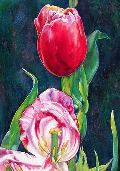 Tulip Treasures No. 2; Original Watercolor by Susan Faye, SusanFayePetProjects on Etsy