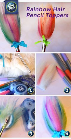Here's a quick, easy, mess-free craft project for kids. Make rainbow troll hair pencil toppers with Glue Dots Permanent Dots, perfect for back-to-school! Kids Crafts To Sell, Craft Projects For Kids, Craft Ideas, Back To School Crafts For Kids, Teen Crafts, Vbs Crafts, Art Projects, Decor Ideas, Pencil Topper Crafts