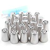 #6: Pridebit Russian Piping Tips Cake/Cupcake Decorating Tips 23 Extra Large Stainless Steel Icing Nozzles 1 Silicone Pastry Bag 5 Disposable Piping Bags