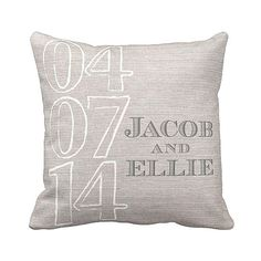 Personalized Wedding Gift Pillow Cover Cotton by JolieMarche, $35.00