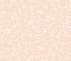 Baby Text White on Peach fabric by seasonofvictory on Spoonflower - custom fabric