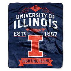 Illinois Fighting Illini NCAA Royal Plush Raschel Blanket Label Series