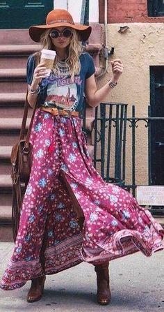 #spellandthegypsycollective #boho #outfits   Graphic Tee + Folk Maxi Skirt