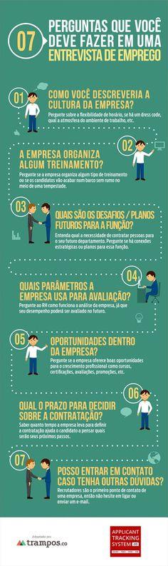 Infográfico: 7 perguntas que você deve fazer em uma entrevista de emprego | tutano