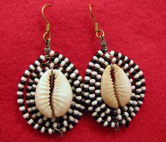 African Earrings | ... Africa Jewelry Masai Bead Black/White Bead Cowrie Shell Earrings