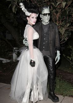 Frankenstein and the Bride of Frankenstein, Len Wiseman and Kate Beckinsale, head out on Halloween night in full costume. The Hollywood couple were joined by their friend and Beckinsale's former husband, actor Michael Sheen.