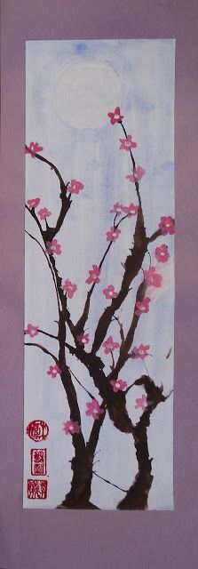 """My Grade 7 class recently finished these cherry blossom paintings as part of our """"Japanese Art"""" unit. I absolutely adore cherry blo. Painting For Kids, Art For Kids, Cherry Blossom Painting, Cherry Blossoms, Hachiko, China Art, Art Lessons Elementary, Elements Of Art, Art Club"""