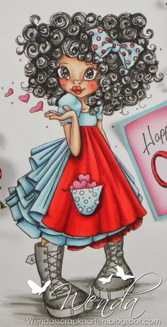 Copic Marker Benelux: Happy Valentine´s day -  Red: C7 - C5 - R59 - R37 - R46 - R14 Blue: C4 - B93 - B52 - B10 - B000 - B0000 Skin: R22 - R20 - E11 - E00 - E000 Hair / Shoes: T10 t / m T0