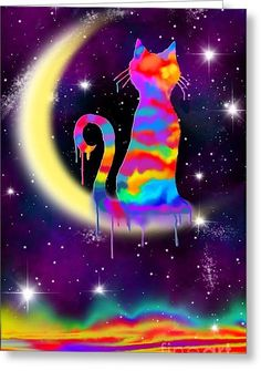 Painted Moon Cat Greeting Card by Nick Gustafson
