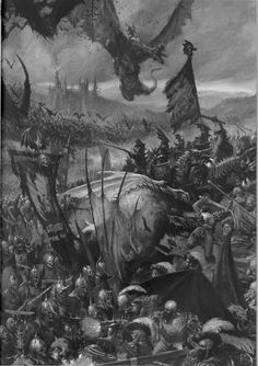 An army of the Vampire Counts consisting of Blood Dragon Knights, Grave Guard, and many other undead horrors face off against State Troops of the Empire