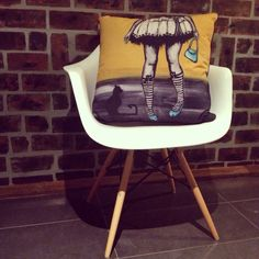 """Studio Door cushions. Quirky and unique. Let colour psychology take control of you and befriend the emotions. Tootsie and Toto sitting up proud as a feature cushion. It would look great in your home. """"It's a cushion thing"""""""