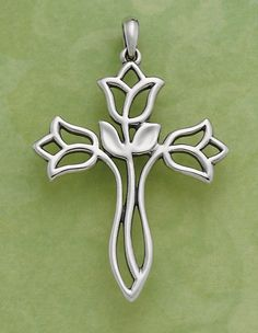 Flowing Lilies Cross #jamesavery #jewelry - This would be perfect for Miss M's confirmation.