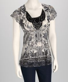 Take a look at this Purity Sublimation Crocheted Angel-Sleeve Top - Women by OneWorld on #zulily today!