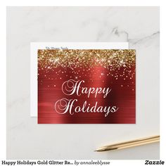 Happy Holidays Gold Glitter Red Foil Holiday Postcard