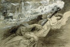 The silence - William Allen Rogers - The legacy of the 19th to the 20th century, 1901. on Flickr. Sword And Sorcery, Black And White Illustration, Vincent Van Gogh, Illustration Art, Statue, Artist, Imagination, Archive, Paintings