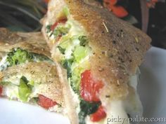 Ricotta Stuffed Spinach and Broccoli Pizza Pie.  This is so wonderful, especially when you use fresh veggies.  It's from Picky-palate.com, one of my favorite food bloggers.  I've made so many recipes from her site and they all are fantastic.