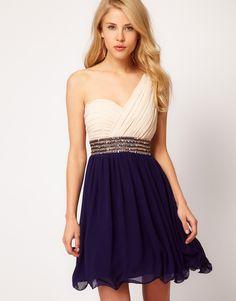 Little Mistress Embellished Waist One Shoulder Dress  $73.40