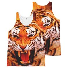 Tiger and Flame All-Over Printed Tank Top All-Over Print Tank Top Tank Tops