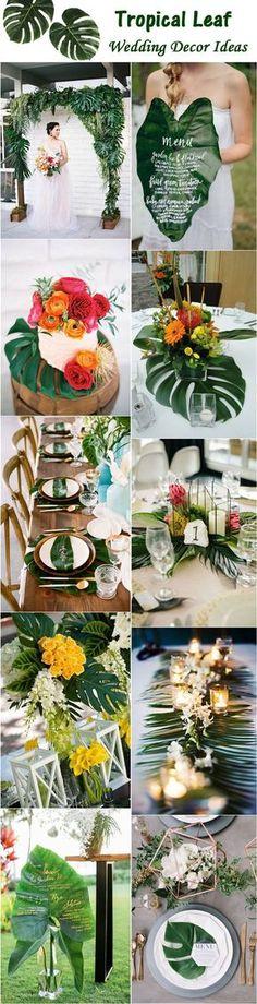 Tropical Leaf Green Wedding Ideas / http://www.deerpearlflowers.com/tropical-leaf-greenery-wedding-decor-ideas/