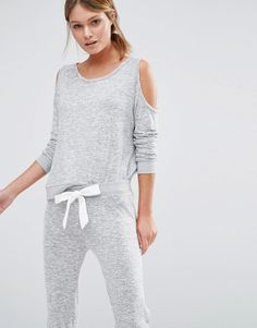 784a6d8d0a59 Image 1 of New Look Cold Shoulder Cut  amp  Sew Pajama Top With Bow Back