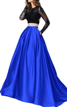 MACloth Two Piece Long Sleeves Lace Satin Prom Dress Royal Blue Evening Formal Gown
