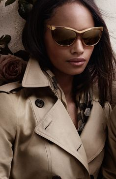 a7a3c7532de British model Malaika Firth wearing trench-inspired sunglasses from the new  Burberry S S14