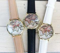 Vintage world map watch - Montre beige !!!