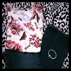 Pink Butterfly & Dragonfly Shirt Gently worn great condition! Beautiful top! This top is a Large Petites.Jeans and Bracelet available in separate listings. Talbots Tops Tees - Short Sleeve