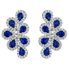 Spark Creations Fancy Sapphire & Diamond Earrings Pear Shape Sapphires, 2.80 Carats Total Weight Diamonds, 1.01 Carats 18K White Gold Drop Earrings