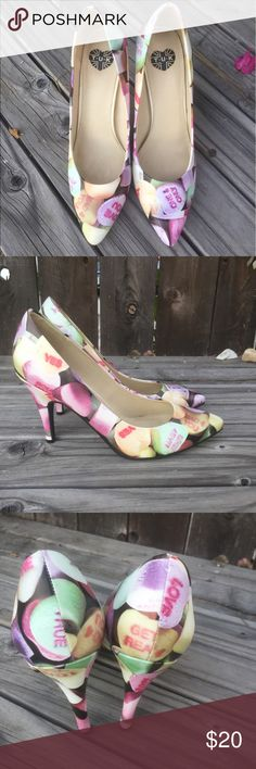 TUK HEELS SZ 8 CANDY HEARTS TUK HEELS SZ 8 CANDY HEARTS- GOOD CONDITION, COMFORTABLE WORN ONCE- SMALL SCUFF ON FRONT HEEL TUK Shoes Heels