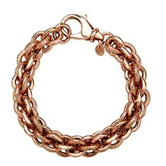 A stunning and substantial piece that will help you make a statement! Interlocking triple-cable bracelet features both sleek and etched links in a setting of 18K rose gold plating. Piece measures 8 in...