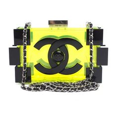 Pre-Owned Chanel Lime Boy Brick Lego Clutch featuring polyvore, fashion, bags, handbags, clutches, chanel, green, yellow purse, yellow clutches, transparent handbag and green clutches