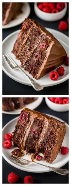 This Triple Layer Chocolate Raspberry Cake is a SHOWSTOPPER! Top with fresh raspberries for an extra lovely presentation. This Triple Layer Chocolate Raspberry Cake is a SHOWSTOPPER! Top with fresh raspberries for an extra lovely presentation. Just Desserts, Delicious Desserts, Yummy Food, Chocolate Raspberry Cake, Cake Chocolate, Chocolate Pudding, Cake Recipes, Dessert Recipes, Chocolate Shavings