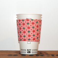 New to Chockrosa on Etsy: Fabric Coffee Cozy - Tea Cup Cozy - Eco friendly cozy - Pink with green hearts squares - Premium