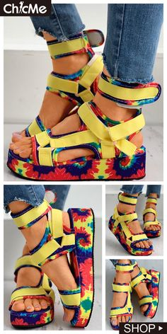Tie Dye Print Velcro Muffin Sandals Sandals Outfit Summer, Red Sandals, Cute Sandals, Bare Foot Sandals, Cute Shoes, Summer Shoes, Diy Barefoot Sandals, Womens Fashion Online, Cyberpunk Character
