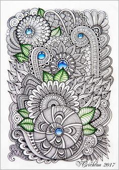Zentangle art, gems zentangle, graphic, zentangle inspired, zenart, artdrawing, artnet, pattern, tangle, abstract, design, graphic, Drawing Illustration, liner, watercolor_Viktoriya Crichton_Ukraine_