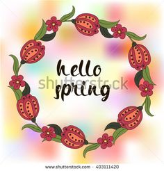 Spring postcard, cover, bright background for inscriptions. Hello Spring. Cute pattern in green and red tones  #bubushonok #art #bubushonokart #design #vector #shutterstock  #pattern #card #holidays #doodle #holiday #banner
