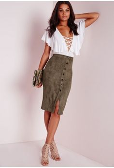 42 Hey girl come join the suede parade in this fierce figure flattering midi skirt. This look is so on point right now and were head over heels for this skirt and its button up details. Grab yourself a white shirt and some strappy heels for a . Velvet Mini Skirt, Suede Mini Skirt, Black Leather Skirts, Faux Leather Skirt, Red Skirts, Casual Skirts, Casual Outfits, Club Outfits, Vinyl Mini Skirt