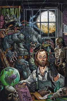 Art by Mike Ploog.***If you think that mad scientist is in danger from the werewolf, realize that the werewolf is in greater danger is the scientist drinks that stuff he's holding. Experiments with werewolf blood can be very promising... and deadly for all involved.