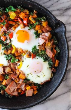 Bacon Kale & Sweet Potato Hash - A sweet and savory one skillet breakfast packed with protein, fiber, and tons of flavor.